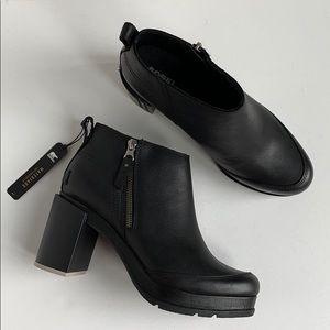 Sorel Blake Black Leather Waterproof Bootie NEW